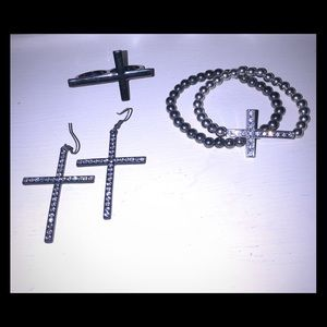 Cross Jewelry Bundle~Ring, Bracelet, Earrings
